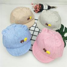 5-18个月儿童宝宝小熊小鸭图案棒球帽婴幼儿鸭舌帽卡通软檐帽子