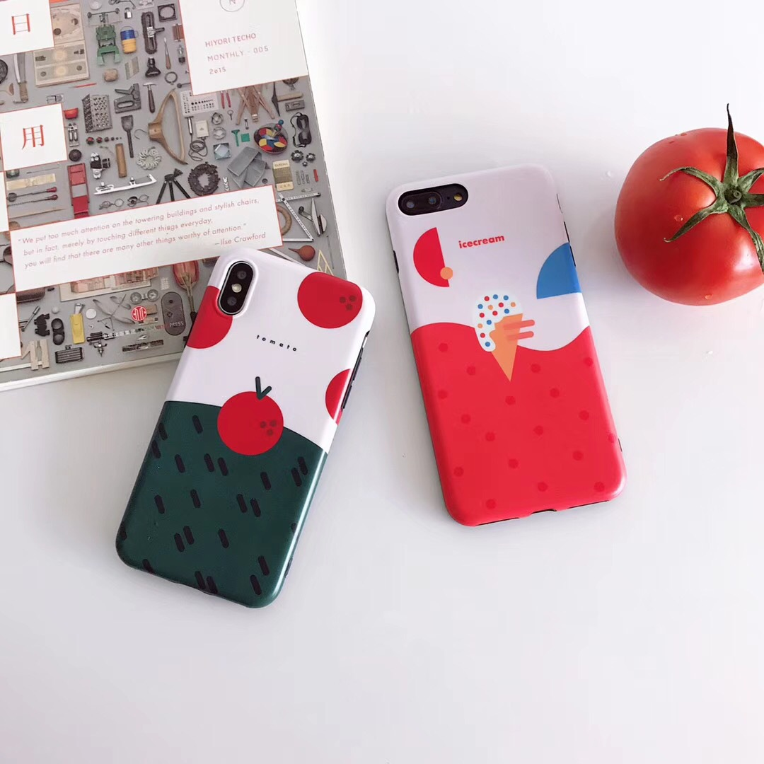 Han Feng color matching tomato ice cream for X / Apple 8 / 7 / 6splus mobile phone shell female protective cover