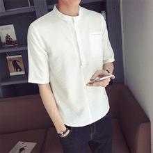 2018夏季男士韓版棉麻修身字母刺繡中袖T恤男裝男式五分短袖t恤