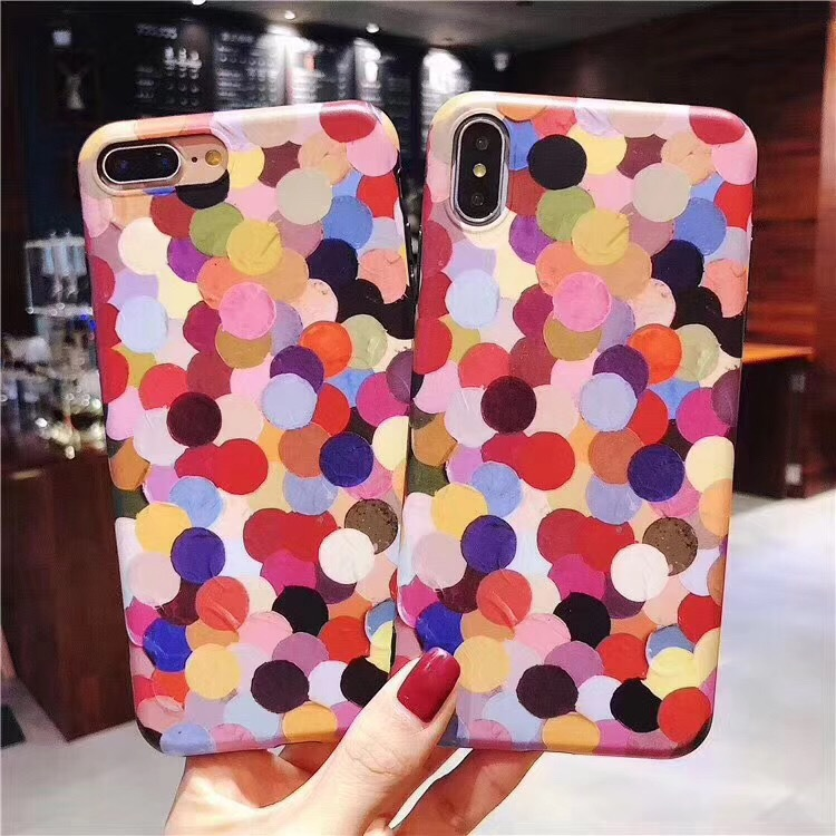 Korean style color wave point for iPhone8plus mobile phone shell silicone all-inclusive apple x small fresh and lovely female models