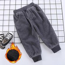 冬季童裤18新款韩版宽松灯笼裤男女童百搭螺纹收脚口灯芯绒加绒裤