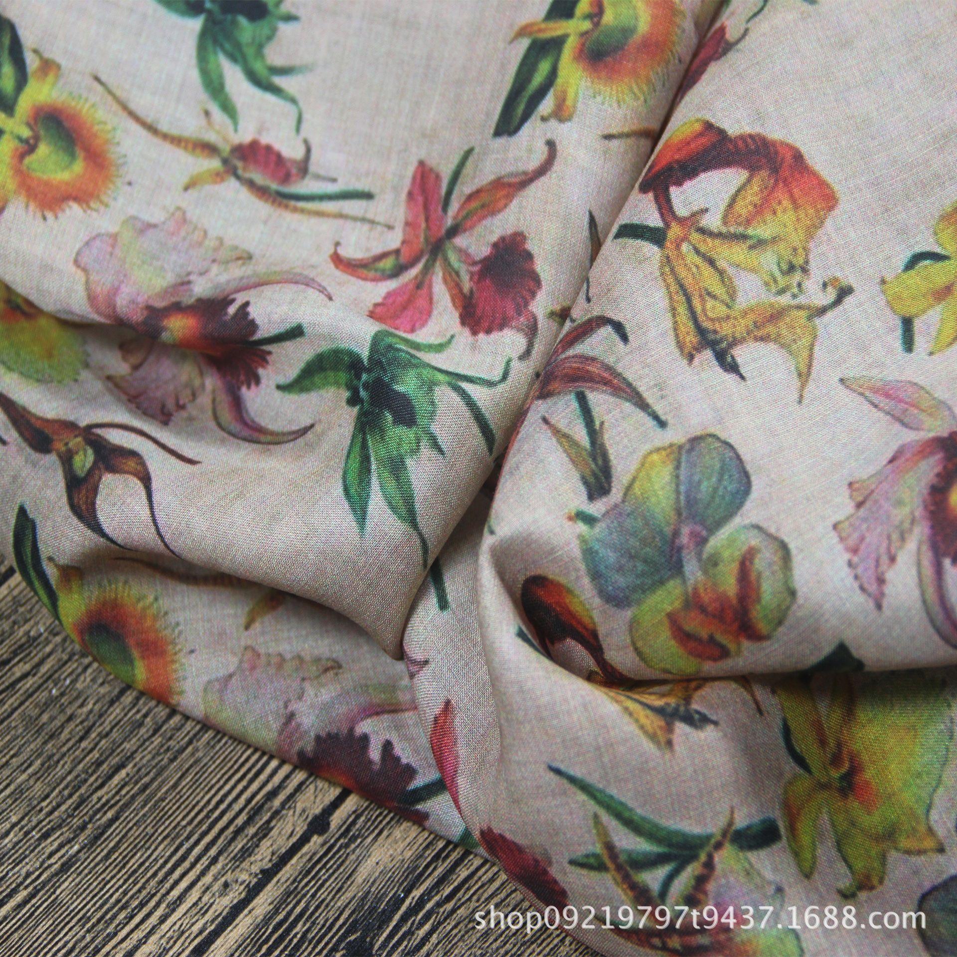 原创小众品牌设计师布料苎麻亚麻棉麻印花布高端袍子旗袍连衣裙布