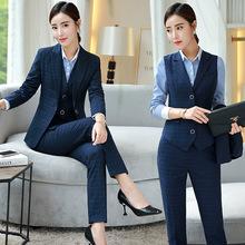 職業裝女2019新款秋裝套裝韓版女士正裝ol套裙修身毛料格子工裝