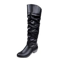 跨境爆款休闲低跟高筒靴圆头粗跟骑士靴特大码冬季女靴外贸速卖通