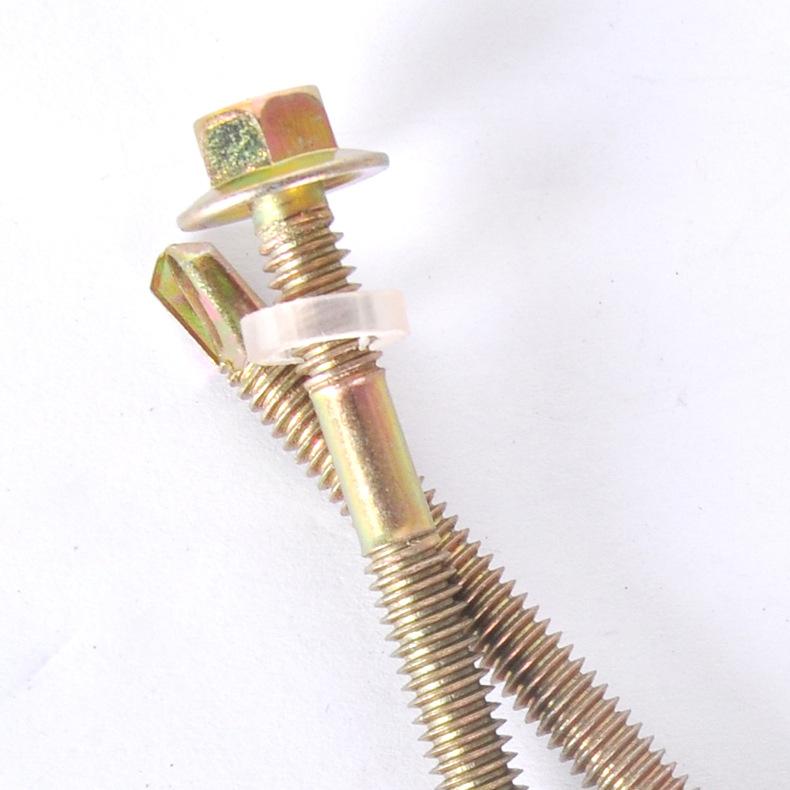 六角头自攻钻尾螺丝 镀彩锌燕尾自钻螺钉 m5.5*50 现货供应