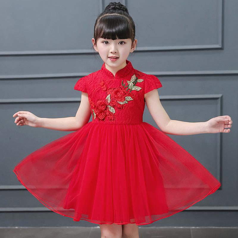 Girls Chinese  qipao dress children Tang suit china retro cheongsam performance dress Princess Dress