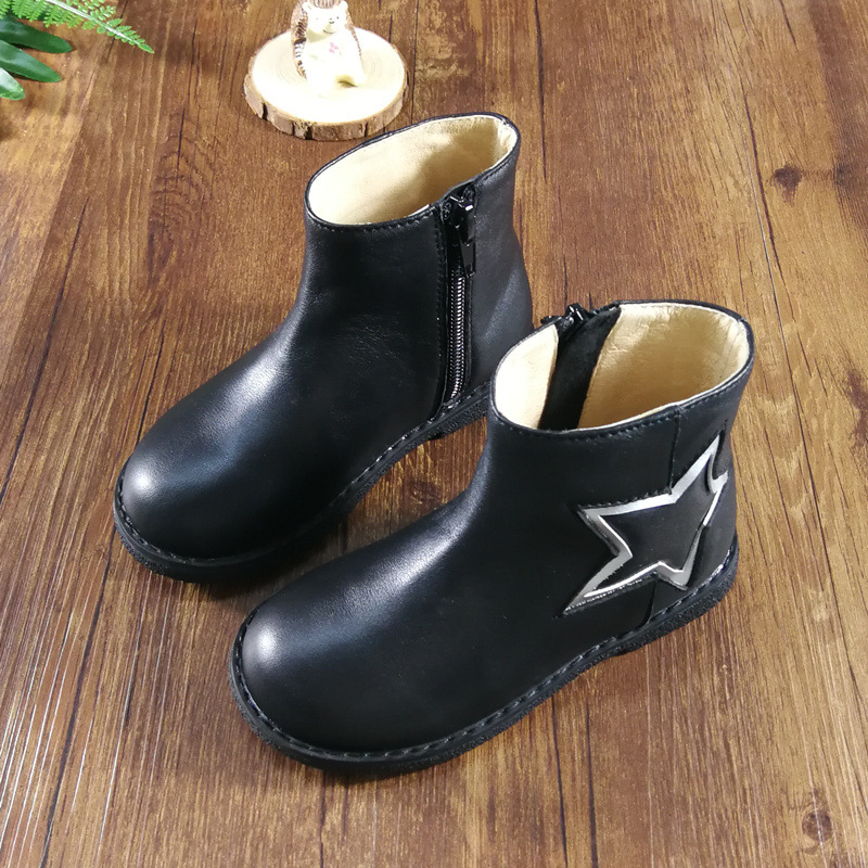 儿童马丁靴2019冬季新款真皮女童短靴低筒皮靴子保暖棉靴童靴批发