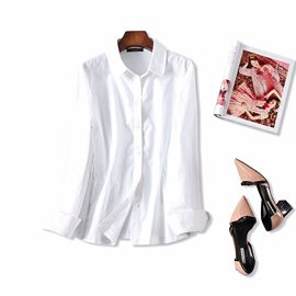 18 spring and summer new products fashion commute!Side stitching bright silk Knitted stitching slim wild white shirt tops women