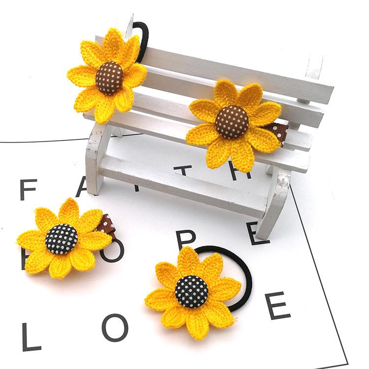 Children's sunflower hairpin hair ring hair accessories headdress baby rubber band girls hairpin NHSA201219