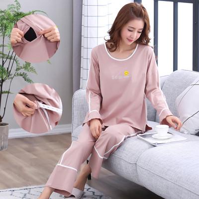 春季新款孕妇睡衣韩版纯棉月子服产妇产后哺乳家居服喂奶衣外出款