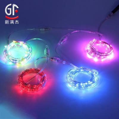 led灯串公母接头铜线灯串 户外防水可对接彩灯圣诞灯光节亮化装饰