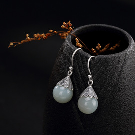 One deer silver S925 pure silver natural inlaid Hetian jade white jade bead retro high-grade lady's ear pendant ear ornaments