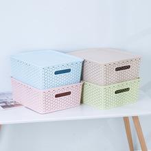 低价出售时尚欧美储物筐桌面镂空收纳筐创意多功能有盖收纳篮中号