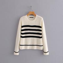 D55-68208 FMP [8486] 欧美圆领黑色条纹拼接撞色长袖套头针织衫