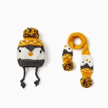 儿童帽子围巾两件套装原单外贸婴儿帽围脖?#20449;?#23453;宝毛线套头厚