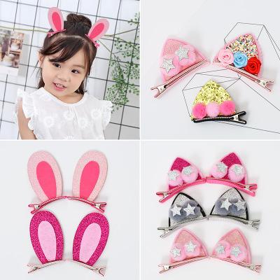 立体亮片猫兔耳朵发夹 可爱儿童bb对夹 新款卡通蝴蝶结顶夹