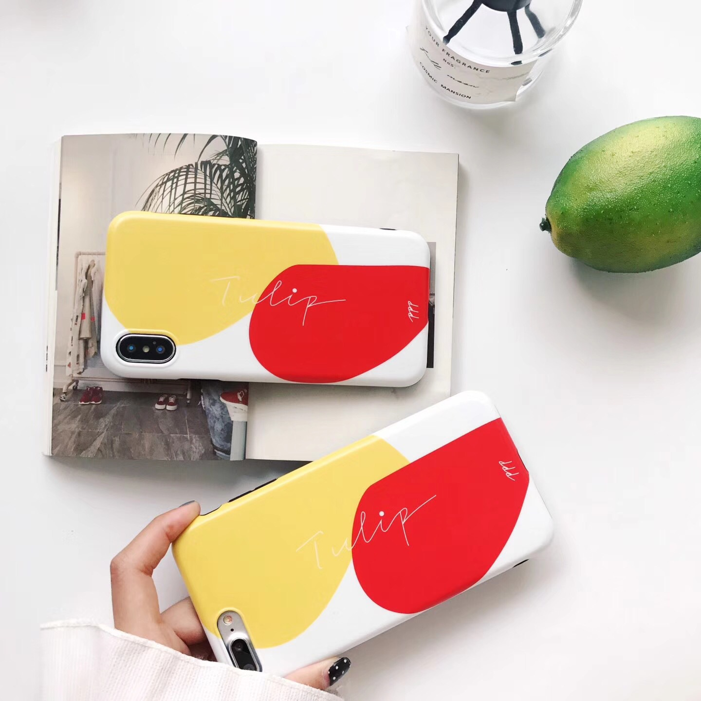 Creative geometric color matching mobile phone case for Apple 7plus / iphone6s mango simple IMD protective cover soft