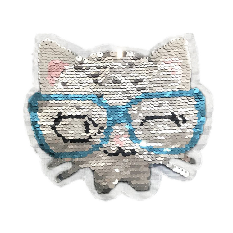 Eyes cat head beads embroidered gradient flip sequins women's clothing stickers NHLT184855