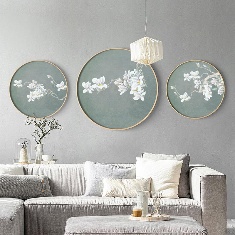 新中式客厅装饰画铝合金圆形框画玉兰花餐厅挂画国画玄关书房壁画