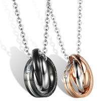 厂家直销饰品批发 三环吊坠小礼物环环相扣 钛钢情侣项链一件代发