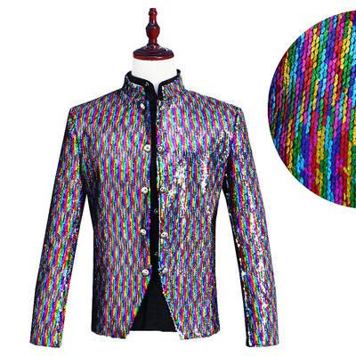 men's jazz dance suit blazers Men court costume colorful reversible laser Sequin mountain nightclub DJ singer stage bar popular
