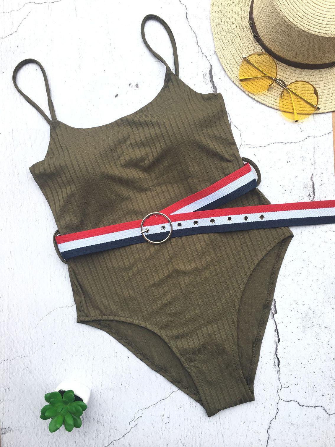 New split belt swimsuit NHNM140649
