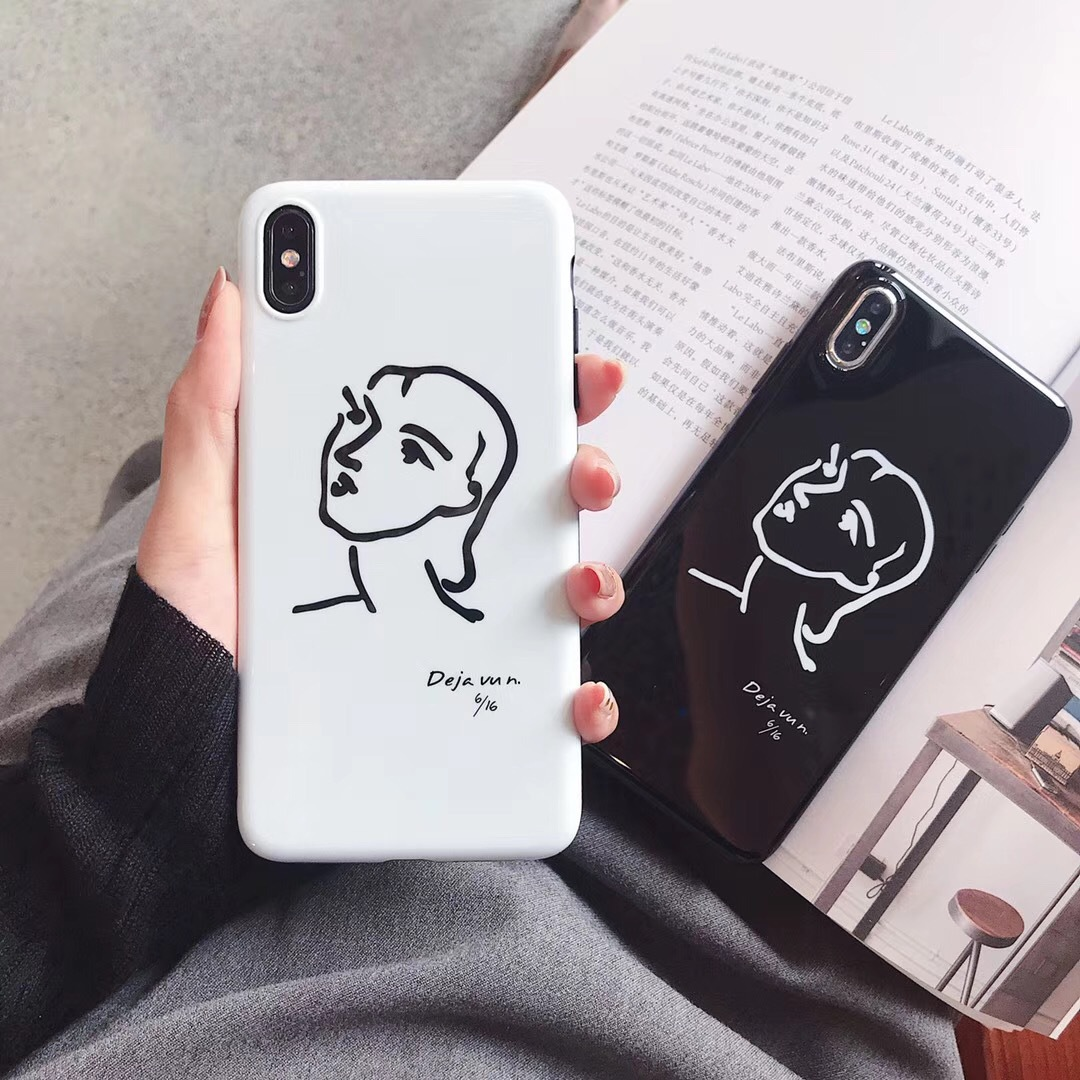 Simple hand-painted line avatar iPhoneXSMAX mobile phone shell Japan and South Korea protective sleeve soft cute apple 7plus set