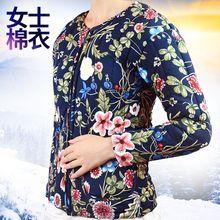 冬季民族風大花布花棉襖女加厚棉衣手工棉花棉服中老年外套