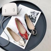 有视频/平底舒适真皮单鞋PQ20192-5休闲韩版女鞋浅口扣件装饰鞋