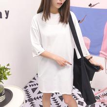 貞麒麟女裝 韓國東大門新款 時尚潮流簡約毛肩邊破洞短袖T恤批發