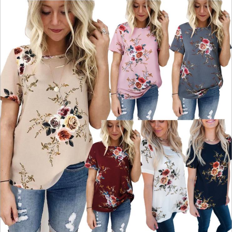 European And American Women's Clothing Chiffon Print Top Short Sleeve Round Neck Loose Running Volume T-shirt Women Summer