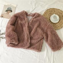 秋冬女装韩版宽松短款羊羔毛保暖外套毛茸茸长袖加厚开衫学生上衣
