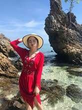 9028度假波西米亚长裙民族风红色连衣裙云?#19979;?#28216;沙滩裙泰国裙?#20248;? class=