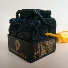 天然和田玉青玉龙头印章玉器玉石印章办公室摆件工艺品商务礼品