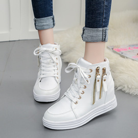 Spring and autumn high-top women's shoes, fashion and leisure, increase women's shoes, muffin bottom, tie students, tide women's shoes