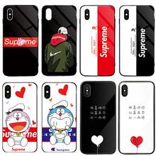情侶手機殼適用iphone8適用蘋果X卡通鋼化玻璃防爆6S7plus保護套