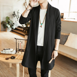 In autumn and winter, the new style men's medium and long style windbreaker in Chinese style has a loose large size coat for parental leisure.