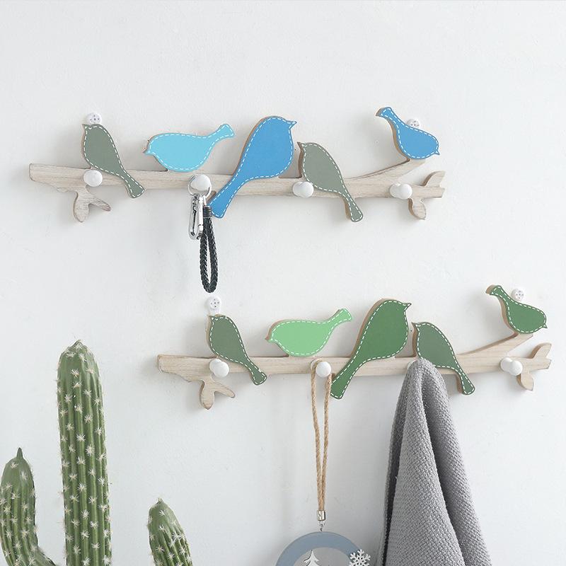 厂家直销创意简约木质墙面装饰小鸟款挂钩 卧室服装店墙上挂衣钩