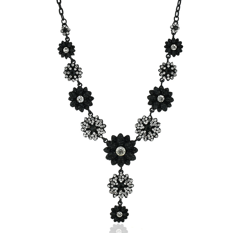 Alloy Bohemia Flowers necklace(Black - Old Gold) NHKQ1676-Black-Old-Gold