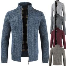 18新款男士立领毛衣加绒加厚开衫毛衣休闲针织衫保暖外套外贸批发