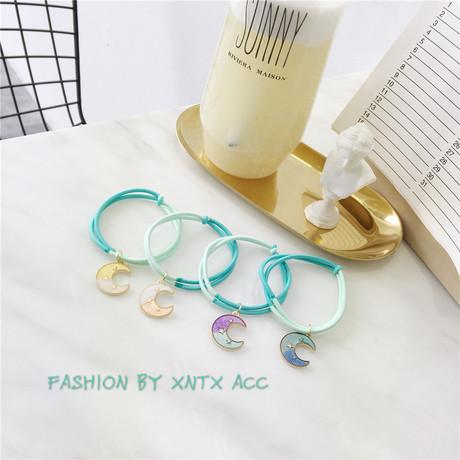 180505 Phụ kiện tóc Hàn Quốc mùa hè mát mẻ đôi nút thắt màu dây tóc vòng sao kiểm soát ban nhạc da đầu tie