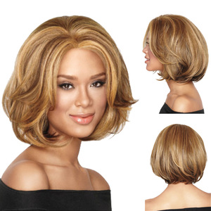 Bob Hair Wigs Selling high temperature women's fluffy Short Wig headgear mixed with popular short straight hair
