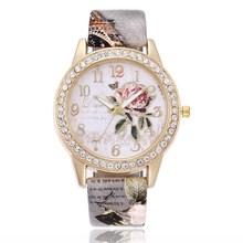 EBay爆款女士手表 无logo印花皮带镶钻石英表女款休闲手表批发