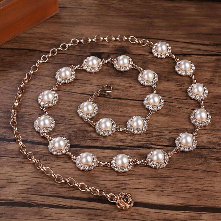 厂家直销现货欧美新款女式珍珠水钻镶嵌金属链条时尚潮流女士腰链