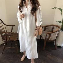 388一件代发2018秋季新款女装大码宽松衬衣裙长款棉麻外贸女衬衫