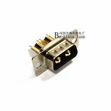 2W2公头  焊线式 大电流重载电源插头 串口DB 2W2 镀金 车针 矩形