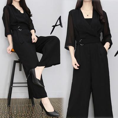 春夏新款高腰雪纺连衣裤黑色七分袖修身显瘦气质阔腿连体裤套装女