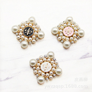 Square pearl flower mobile phone case beauty sticker diamond diy hair accessories accessories hand stick flower alloy material wholesale