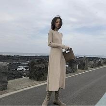 法国小众桔梗配大衣的长裙子娃娃网红法式复古打底收腰连衣裙秋冬