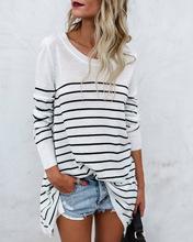 速卖通热卖欧美女装跨境电商ebay爆款条纹拼接长袖T恤打底衫